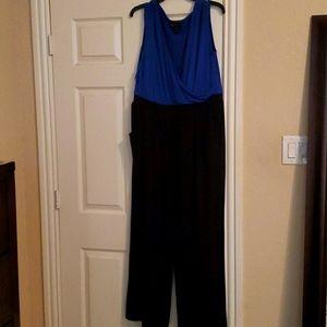 Lane Bryant black and blue jumpsuit